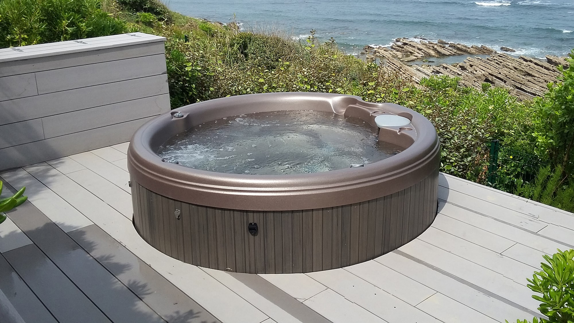 Sundance Spas round hot tub installation in Redding, California