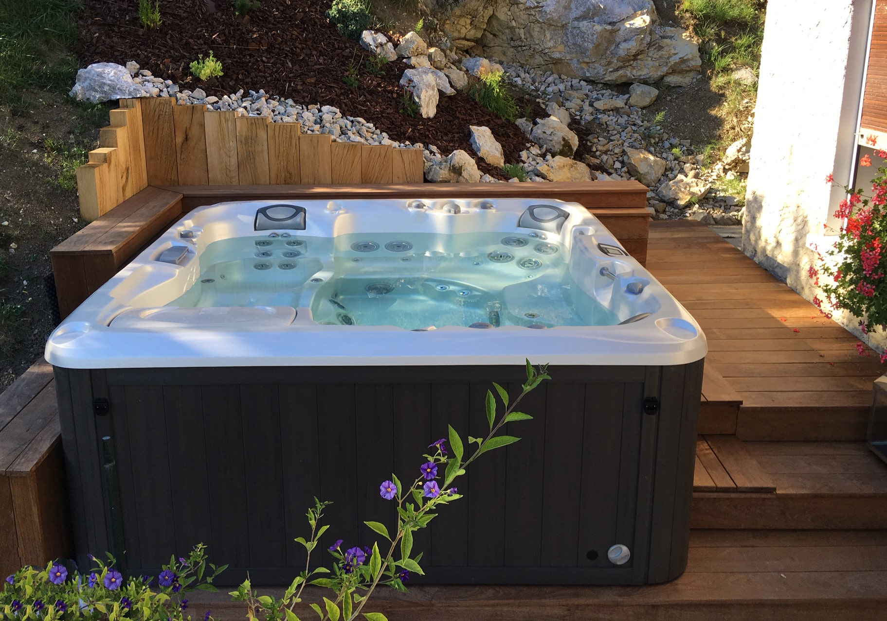 Sundance Spas installation in deck in Redding, California