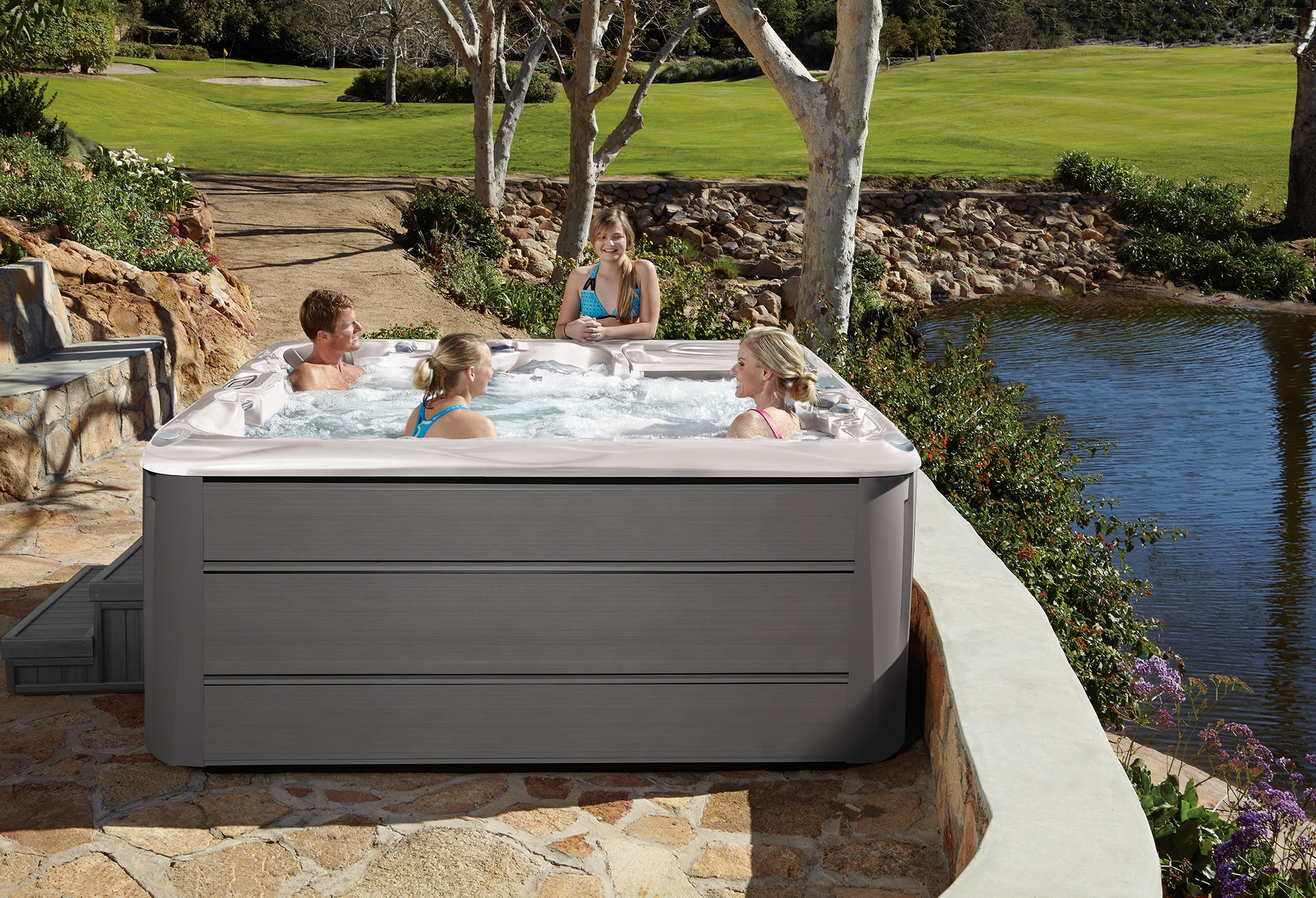 Sundance Spas 880 Series Cameo Installation Family in Redding, CA